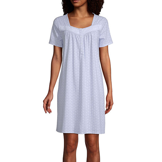 Adonna Womens Petite Short Sleeve Square Neck Nightgown