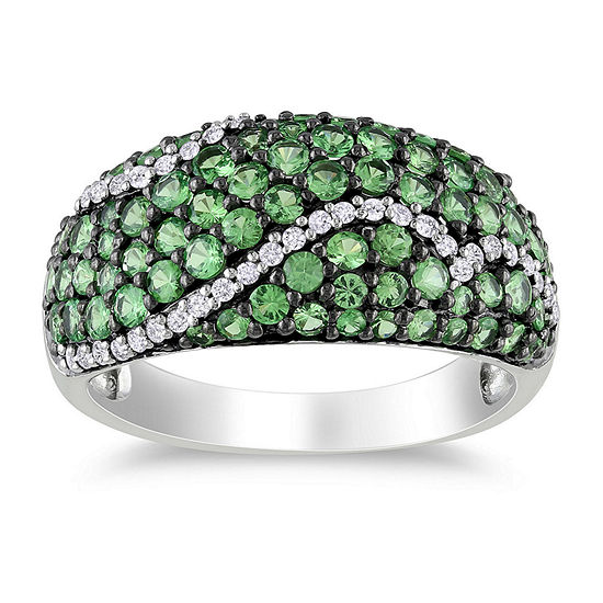 Womens 1 3/4 CT. T.W. Genuine Green Stone Sterling Silver Cocktail Ring