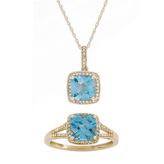 1/4 CT. T.W. Genuine Blue Topaz 10K Gold 2-pc. Jewelry Set