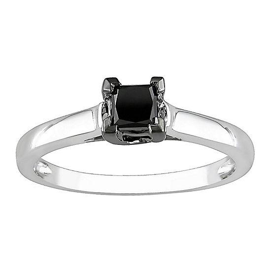 1/2 CT. Princess Solitaire Black Diamond Ring