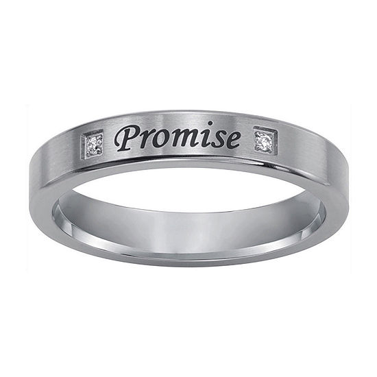 """""""Promise"""" Sterling Silver Ring w/ Diamond Accents"""