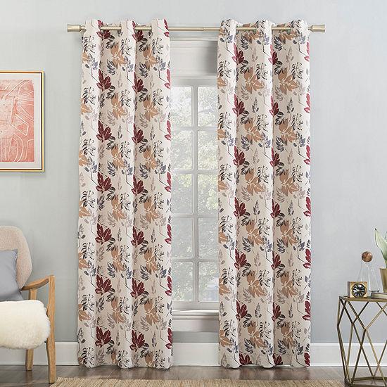 Sun Zero Gabriella Floral Energy Saving Blackout Grommet-Top Single Curtain Panel