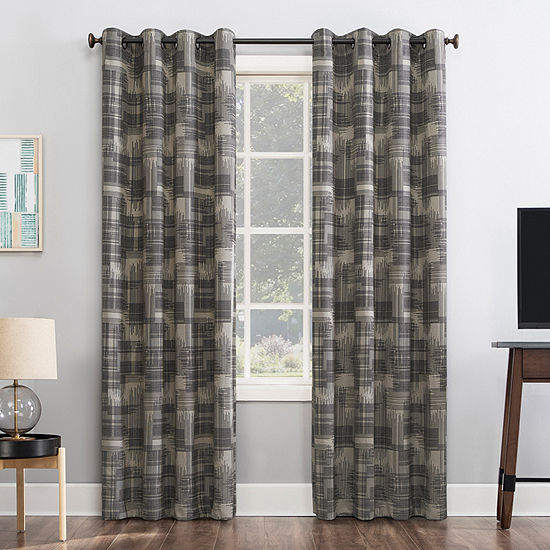 Sun Zero Marcus Crosshatch Thermal Extreme Energy Saving 100% Blackout Grommet-Top Single Curtain Panel