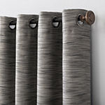 Sun Zero Rhett Woven Strié Theater Grade Extreme Energy Saving 100% Blackout Grommet-Top Single Curtain Panel