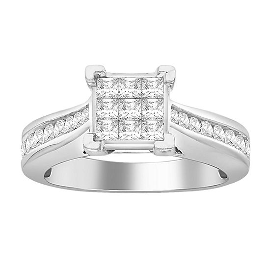 1 CT. T.W. Genuine Diamond Engagement Ring 10K White Gold