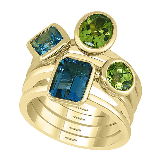 LIMITED QUANTITIES! Effy Final Call Womens Genuine Blue Topaz 14K Gold Cocktail Ring
