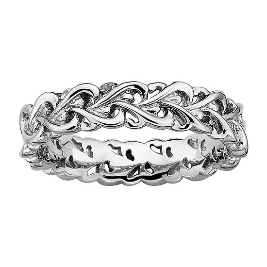 Womens Sterling Silver Heart Stackable Ring