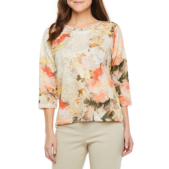 Alfred Dunner Petite First Frost-Womens Crew Neck 3/4 Sleeve T-Shirt