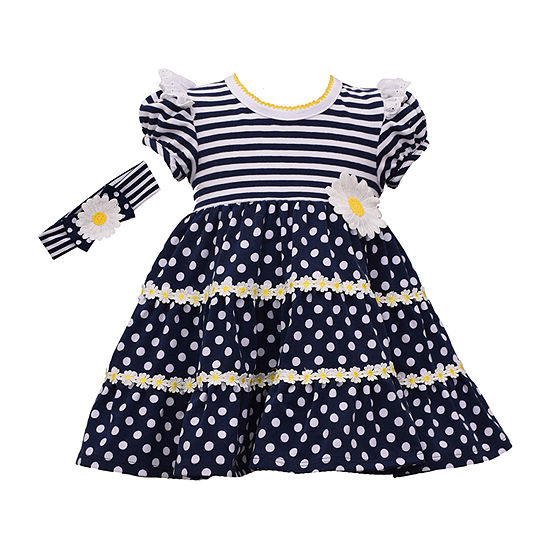 Bonnie Jean - Baby Girls Short Sleeve Striped A-Line Dress