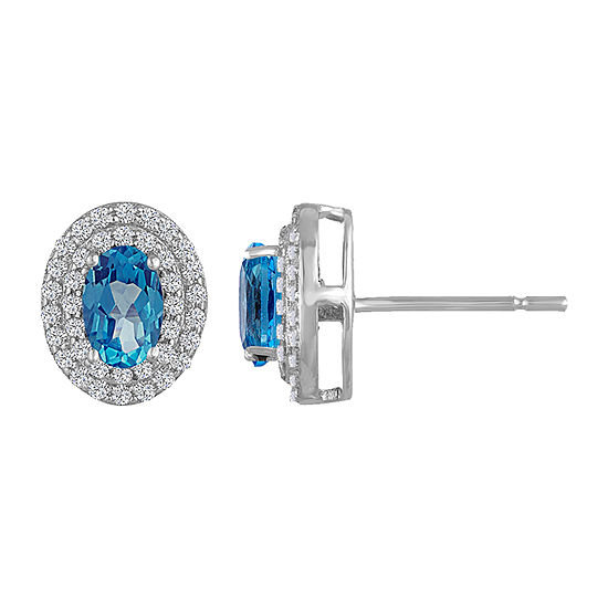 Genuine Blue Topaz & Lab-Created White Sapphire Double Halo Sterling Silver Stud Earrings