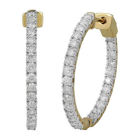 1 1/2 CT. T.W. Genuine Diamond 10K Gold 24.1mm Hoop Earrings, One Size