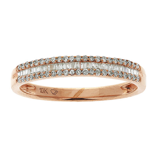 Womens 1/4 CT. T.W. Genuine White Diamond 10K Rose Gold Wedding Stackable Ring