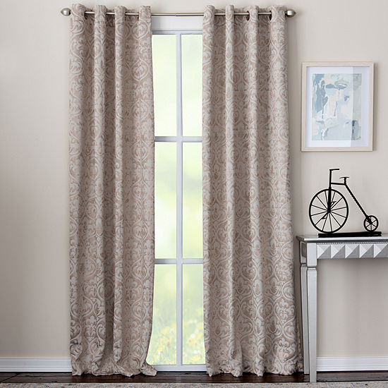 Miller Curtains Caden Damask Energy Saving Blackout Grommet-Top Single Curtain Panel