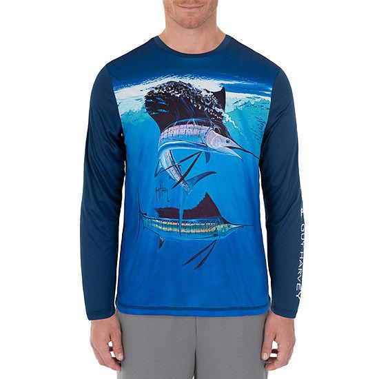 Guy Harvey Mens Crew Neck Long Sleeve Moisture Wicking T Shirt