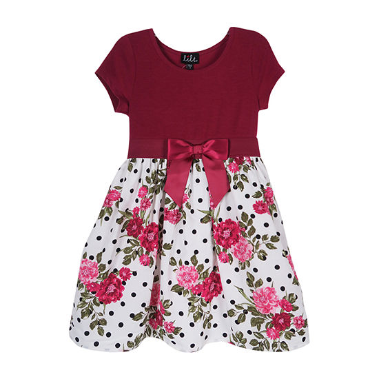 Lilt Little Girls Short Sleeve Fit & Flare Dress