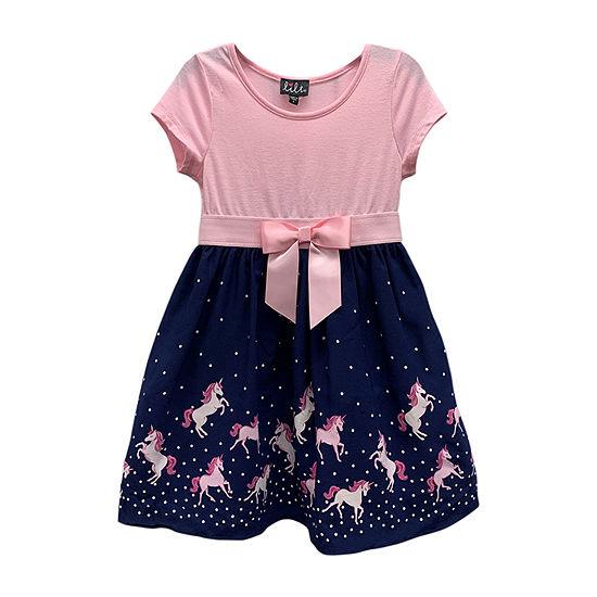 Lilt Little Girls Short Sleeve Fit & Flare Dress