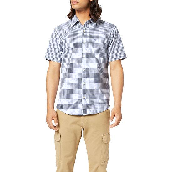 Dockers Signature Comfort Flex Mens Short Sleeve Plaid Button-Down Shirt