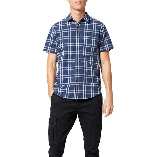 Dockers Washed Poplin Mens Short Sleeve Plaid Button-Down Shirt