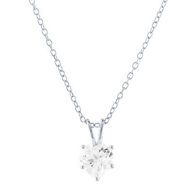 Limited Time Special! Womens Lab Created White Sapphire Sterling Silver Heart Pendant Necklace