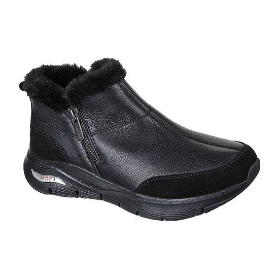 Skechers Womens Arch Fit  Flat Heel Booties