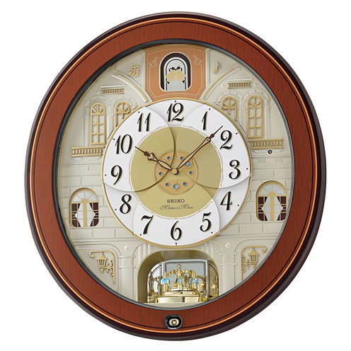 Seiko Melodies In Motion Champagne Wall Clock-Qxm368brh