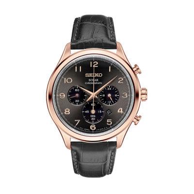 Seiko Mens Black Strap Watch-Ssc566