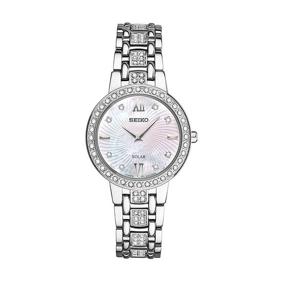 Seiko Crystal Womens Crystal Accent Silver Tone Stainless Steel Bracelet Watch-Sup359