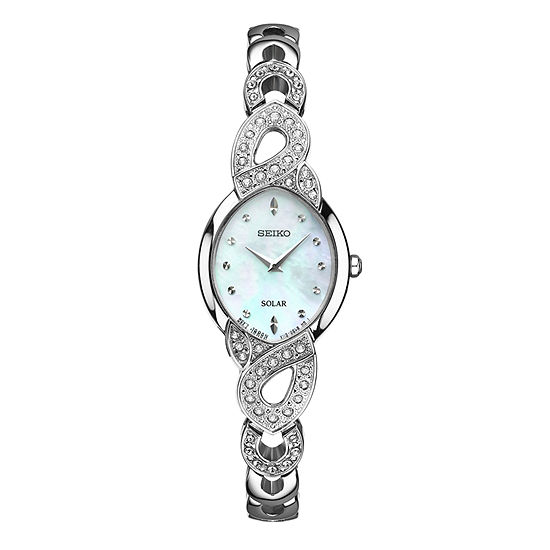 Seiko Crystal Womens Crystal Accent Silver Tone Stainless Steel 2-pc. Watch Boxed Set-Sup367