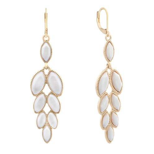 Monet Jewelry White Drop Earrings