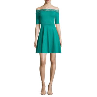 Decree Off Shoulder Lace Trim Dress - Juniors