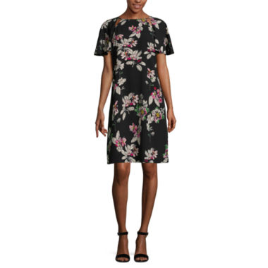 Danny & Nicole Short Sleeve Floral Shift Dress