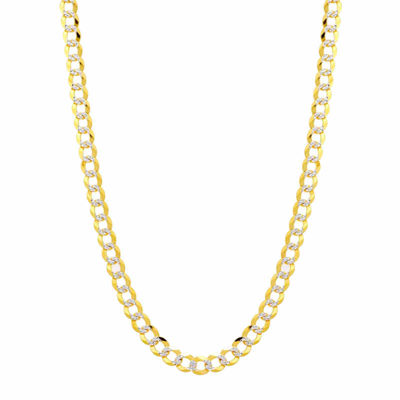14K Two Tone 5.7MM Pave Diamond Cut Curb Necklace 24""