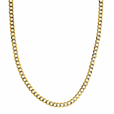 14K Two Tone 3.65MM Diamond Cut Curb Necklace