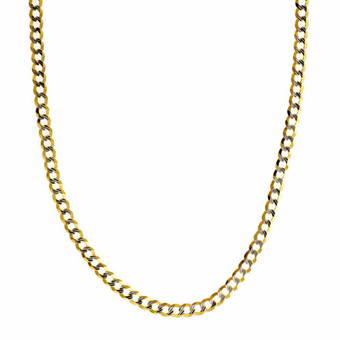 """14K Two Tone 3.65MM Diamond Cut Curb Necklace 20"""""""