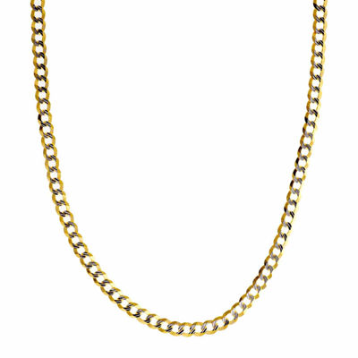 """14K Two Tone 3.65MM Diamond Cut Curb Necklace 24"""""""