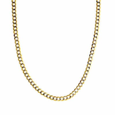 """14K Two Tone 3.65MM Diamond Cut Curb Necklace 30"""""""