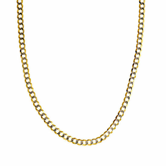14K Gold 30 Inch Solid Curb Chain Necklace