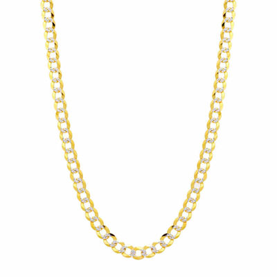 14K Two Tone 5.7MM Pave Diamond Cut Curb Necklace