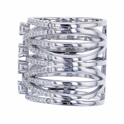 Sterling Silver Cubic Zirconia Long Finger Cocktail Ring