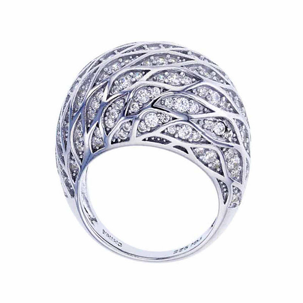 Sterling Silver Rhodium Bee Hive Fashion Ring