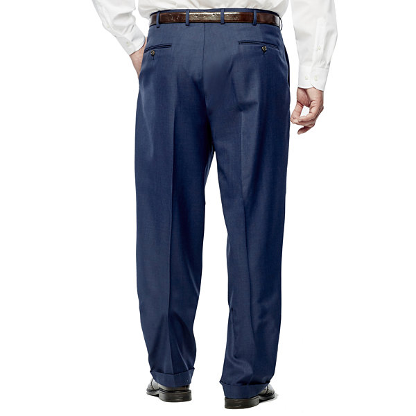 Stafford Travel Wool Blend Stretch Pleated Pants Big and Tall