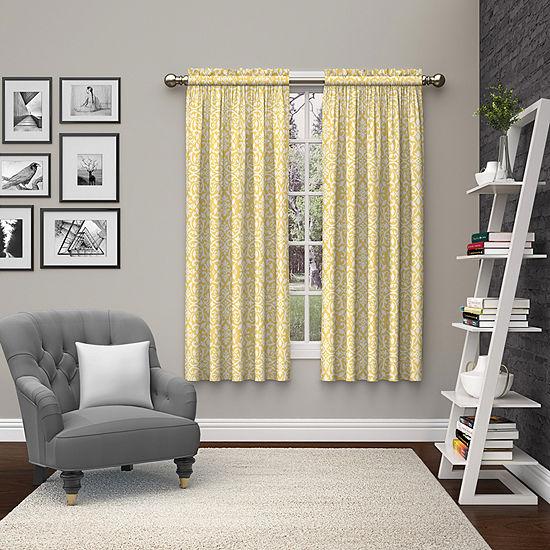 Ellery Homestyles Pinkney Light-Filtering Rod-Pocket Set of 2 Curtain Panel