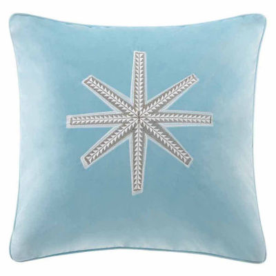 Madison Park Golden Snowflake Square Throw Pillow