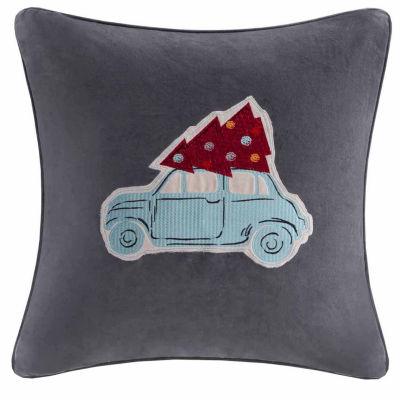 Madison Park Velvet Holiday Drive Square Throw Pillow