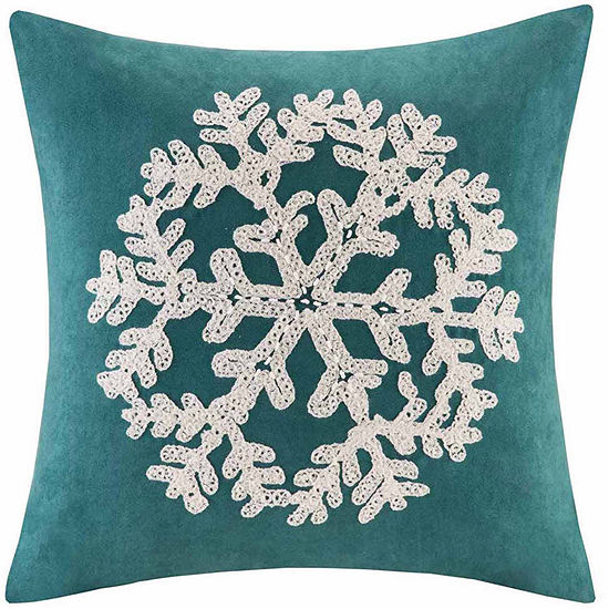 Madison Park Snowflake Embroidered Suede Square Throw Pillow