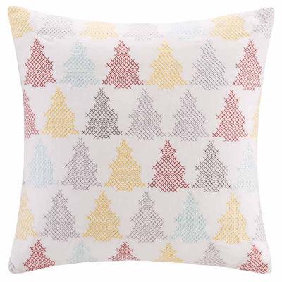 Madison Park Velvet Holiday Tree Square Throw Pillow
