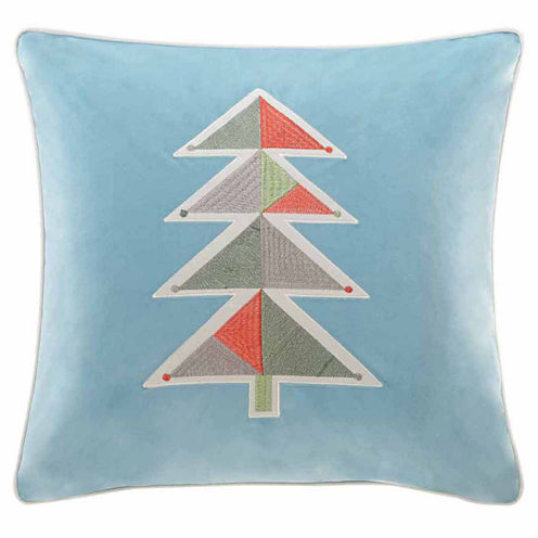 Madison Park Holiday Novelty Geo Tree Square Throw Pillow