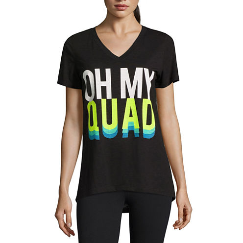Xersion Short Sleeve Crew Neck T-Shirt-Womens Petites