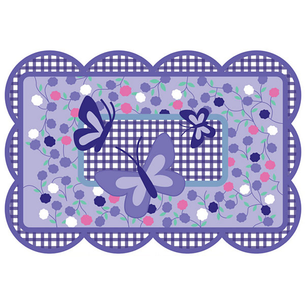 Purple Butterfly Rectangular Rugs