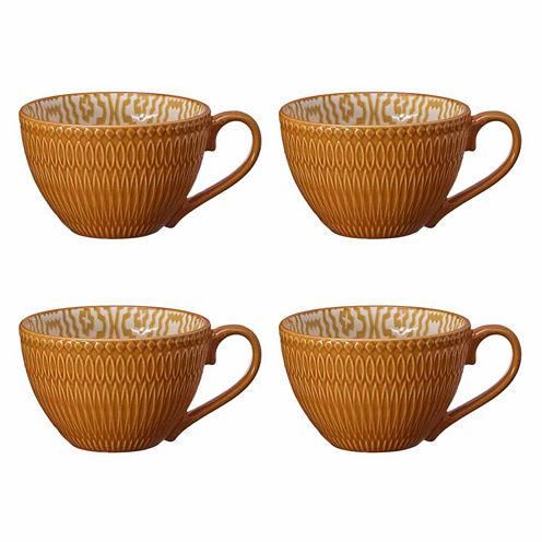 Pfaltzgraff Honey Ikat Pattern Set of 4